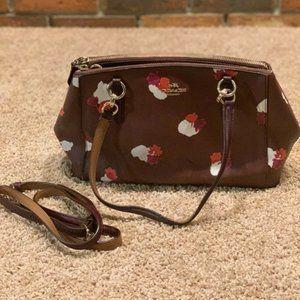Burgundy/Floral Coach Hand Bag/Crossbody